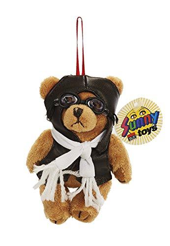 Unbekannt Sunny Toys 31158 - Pilotbär mit Brille  und  Hänger Arme/Beine beweglich, Circa  12 cm