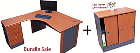 Bundle sale - Quality Left hand Corner desk with 4 drawer pedestal and Low cabinet (Cherry)