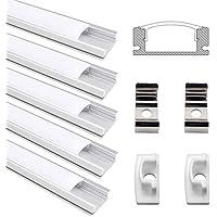 Perfil Tira LED , Jirvyuk 5 Pack 0.5M/1,64 ft Perfil de Aluminio para Led Tira con Cubierta Blanca Lechosa, Los Casquillos de Extremo y los Clips de Montaje del Metal
