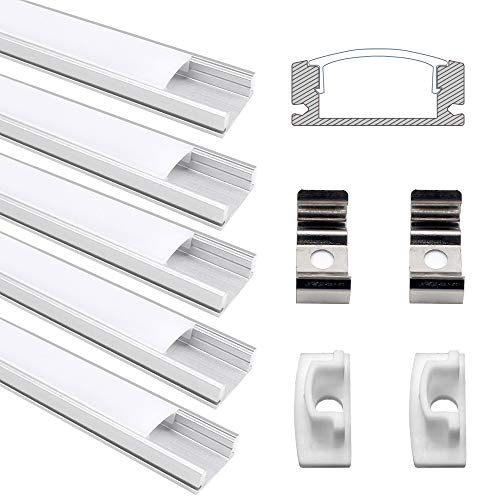 LED Aluminium Profil, Jirvyuk Led Aluminium Leisten 5 Pack 1M/ 3.3ft U-Form Aluminium Extrusion Milchig Deckel Endkappen Metall Befestigungs Clips ( Silber ) (Silber-U)