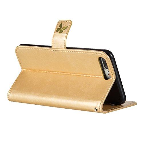 Tasche iPhone 7 Plus, iPhone 7 Plus Grün Leder Handyhülle, Moon mood® Ledertasche Brieftasche für iPhone 7 Plus(5.5 Zoll) ,PU Leder Hülle Wallet Case Folio Schutzhülle Schutz Schale mit Bronzing Schme Gold