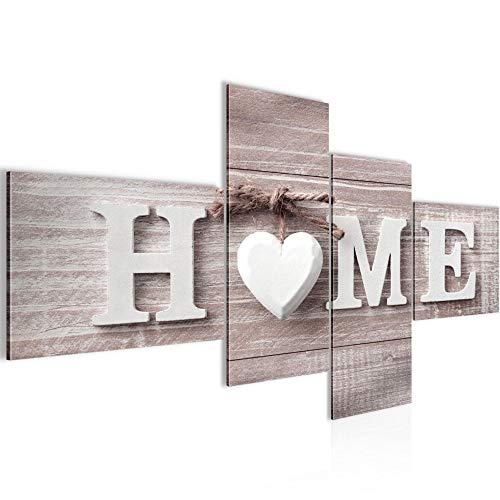Bilder Home Herz Wandbild 150 x 60 cm Vlies - Leinwand Bild XXL Format Wandbilder Wohnzimmer Wohnung Deko Kunstdrucke Rot 4 Teilig - MADE IN GERMANY - Fertig zum Aufhängen 504445b