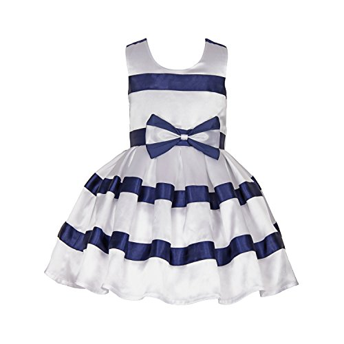 SOFYANA Baby - Girl's Poly Crepe Birthday Party Wear Frock Dress for Girls_White and Navy Blue_008_1-2 Years Kidswear