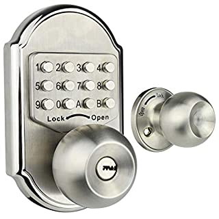 Elemake Keyless Entry Door Lock Deadbolt Keypad Mechanical Stainless Steel (Pass Code + Key, Higher Security)
