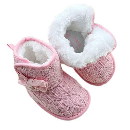 Unbekannt Mädchen Babyschuhe Woll Schuhe Stiefel Strickschuhe Schleife Größe 0-12 Monate (0-6 Monate, Rosa)