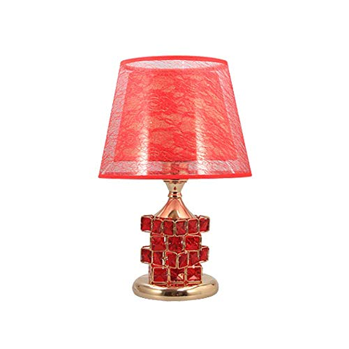 Chandelierdelicate Design Crystal Base Schlafzimmer Wohnzimmer Beistelltischlampe, Crystal Rubik'S Cube Perlen Tischlampe, Red Shade Lampenschirm E27 * 1 (Crystal Light Led Base Cube)
