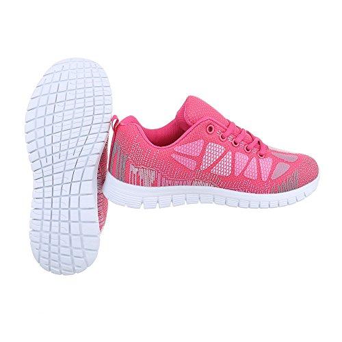 Scarpe da donna Sneaker piatto Sneakers low Ital-Design rosa EL20013