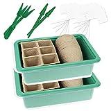 Wellgro 2er Set Mini Gewächshaus - für bis zu 24 Pflanzen, je ca. 20,5 x 15,5 x 11 cm (LxBxH), 12 Pflanzenstecker,...