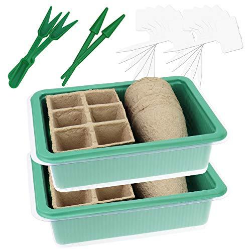 Wellgro 2er Set Mini Gewächshaus - für bis zu 24 Pflanzen, je ca. 20,5 x 15,5 x 11 cm (LxBxH), 12 Pflanzenstecker, Pikiersets aus Pikierstab und Setzstab, grün/transparent, Kunststoff/Zellulose