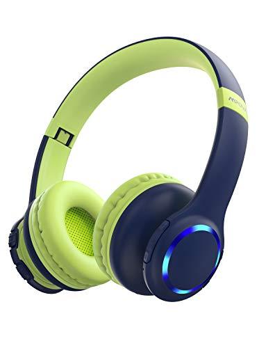 Kinder Kopfhörer Bluetooth, Mpow CH9 kopfhörer Kinder, Faltbar, einstellbar, 85dB Lautstärke begrenzt, AUX 3,5 mm Klinke, eingebautes Mikrofon, LED-Licht, kompatibel mit Handy/PC/iPad/Tablets/TV/MP3/4