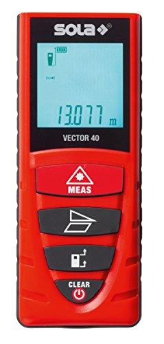 """Sola 71020101 Laser-Entfernungsmesser\""""Vector 40\"""" mit Gürtelclip in rot"""