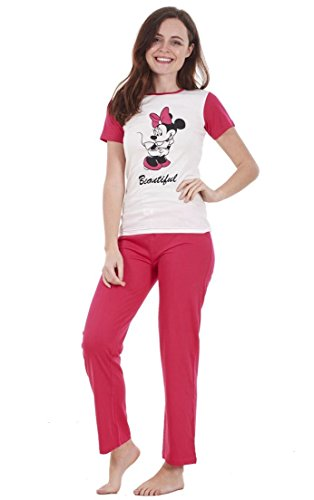 Pigiama Donna con Maniche Corte - Set Personaggi Snoopy/Topolino/Minnie - Minnie- Beautiful - XL - EU 48/50