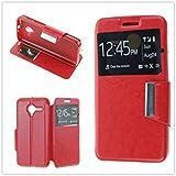 "MISEMIYA - Funda Orange Dive 50 / Vodafone Smart Speed 6 / Alcatel Pixi 3 4.5"" - Funda Solo, Libro View Sporte,Rojo"