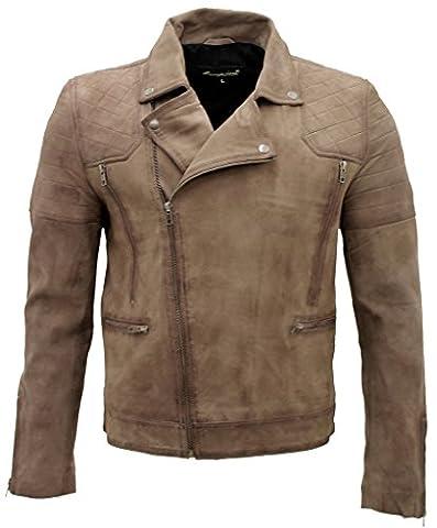 Men's Casual Suede Camel Brown Leather Biker Jacket S