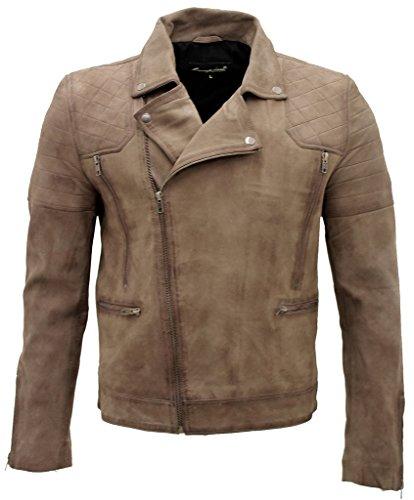 Männer Beiläufig Suede Kamel Braun Bikerjacke aus Leder XS