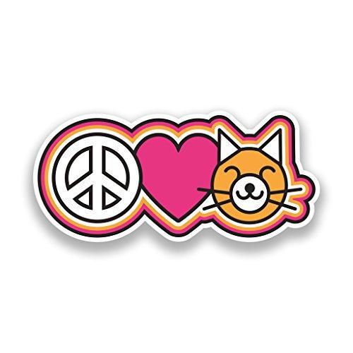 2x Pegatinas de vinilo de la Paz amor Gatos Hippy # 7347