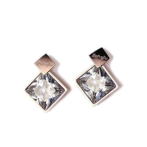 fashion or rose boucles d'oreilles/Tempérament de géométrique carré titane acier boucle d'oreille/ simple et personnalisé bijoux-A