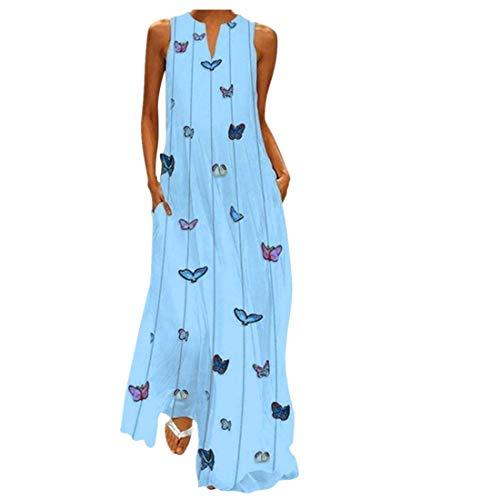 BHYDRY Frauen-Weinlese-tägliches beiläufiges Sleeveless gestreiftes Basisrecheneinheits-gedrucktes Sommer-Kleid - Maxi-kleid Silber Glanz