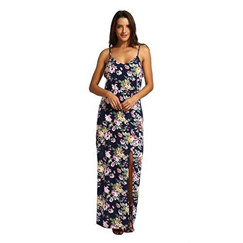 (IMJONO Frauen Kleid Dress Damen Sommer Print Kleid Halfter lässig Kleid Schlitz knöchellangen Kleid(Medium,Schwarz))