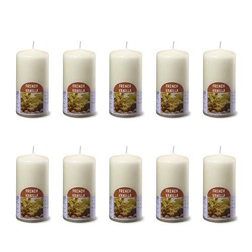 bolsius 10 große Duftkerzen im Set - Stumpenkerzen Duft Vanille -