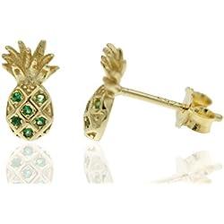 MY ME JEWELS Pendientes plata mujer Set 2 pares, unicornio con circonitas y piña chapado en oro amarillo con circonitas de color. Cierre de presión
