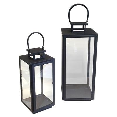 2tlg Laternen Set Metall Windlicht 44/60,5cm Stalllaterne Leuchten Kerzenhalter Kerzenleuchter Dekoration Schwarz von Multistore 2002 auf Lampenhans.de