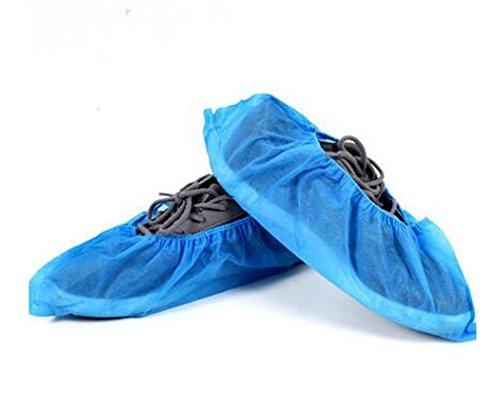 Einweg-Boot & Schuh-Abdeckungen, Non Woven Überschuhe für den Bau Gemälde Innenteppichboden -Schutz & Medical Place, Durable One-size anpassen deckt die meisten Schuhe, Blau, 100 Pack