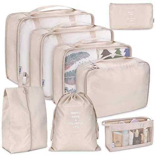 Koffer Organizer Set 8-teilig, kleidertaschen für Kleidung Kosmetik Schuhbeutel Kabel Aufbewahrungstasche, Reisen Organizer Tasche Blau (Beige) - Make-up Tasche Organizer
