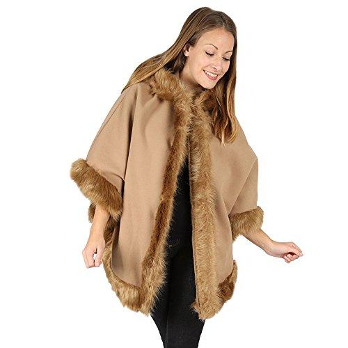 MIXLOT Ladies Faux Fur Trim Hooded Poncho Cape Women Wrap Shawl Cardigan Warm Coat (One Size (8-22), Camel) (Faux Cape Pelz Getrimmt)