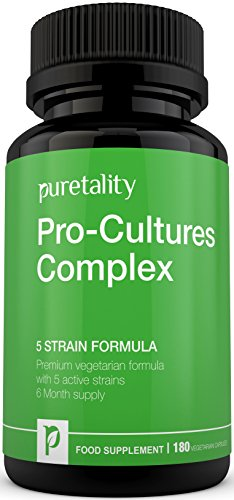 Probiotics Pro-Cultures Complex 5- strain formula 180 capsules (6 Month Supply) - Probiotics 10 Billion CFU Source Powder - Vegetarian High Strength Probiotic Supplement Includes Lactobacillus - Acidophilus by Puretality Test