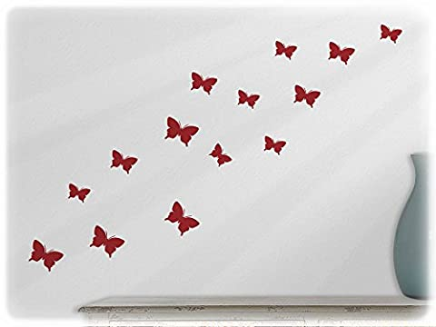 wallfactory - wall decal - 15 high-quality Butterflies (S2XS) in dark red