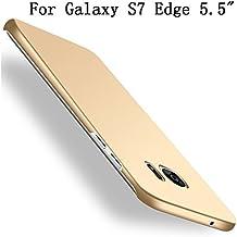 Galaxy S7 edge Coque, Heyqie[SKIN TOUCH FEEL] Ultra-thin Metallic Texture Anti-fingerprint/skid/fade PC Back Protective Phone Cover Coque for Samsung Galaxy S7 Edge G9350 - Gold