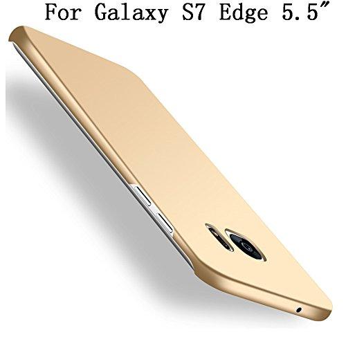 Heyqie Galaxy S7 Edge Coque, [Skin Touch Feel] Ultra-Thin Metallic Texture Anti-Fingerprint/Skid/Fade PC Back Protective Phone Cover Coque for Samsung Galaxy S7 Edge G9350 - Gold
