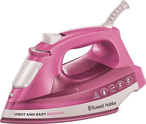 Russell Hobbs 25760 Light and Easy Brights Steam Iron, Ceramic Soleplate with Continuous and Vertical Steam Function, Rose, 2400 W