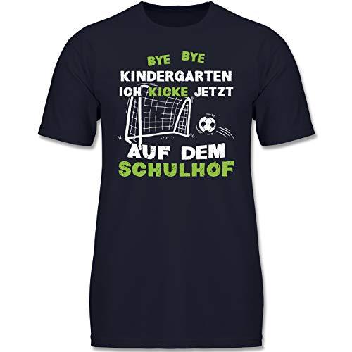 Einschulung und Schulanfang - Bye Bye Kindergarten Einschulung Fußball - 128 (7-8 Jahre) - Dunkelblau - F130K - Jungen Kinder T-Shirt