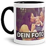 Tasse selbst individuell Gestalten/Personalisierbar mit eigenem Foto Bedrucken/Fototasse / Motivtasse/Werbetasse / Firmentasse mit Logo/Innen & Henkel Schwarz