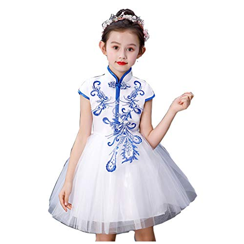 Mädchen Tutu Kostüm Flash - HUO FEI NIAO Mädchen Kostüm Tutu Chinese Style Performance Kleidung Dance Chorus Kleidung (Color : White, Size : Have headdress-170)
