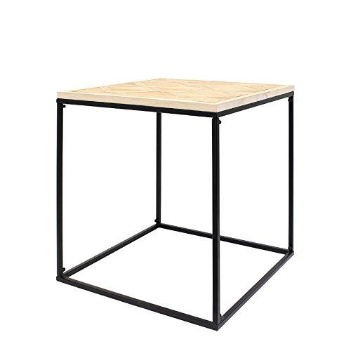 THE HOME DECO FACTORY HD3823 Table Carree et Metal MDF + Metal Bois 50.5x50.5x20.5 cm