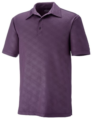 Ash City Maze Herren Performance Stretch Embossed Print Polo Shirt MULBRY PURPL 449