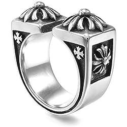 MunkiMix Acero Inoxidable Anillo Ring Negro El Tono De Plata Celta Celtic Medieval Cruzar Cruz Talla Tamaño 17 Hombre