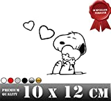 SNOOPY LOVE Autoaufkleber Sticker Aufkleber Macbook Wandtattoo Snoopy Peanuts (S 10 cm x 12 cm, Weiss)