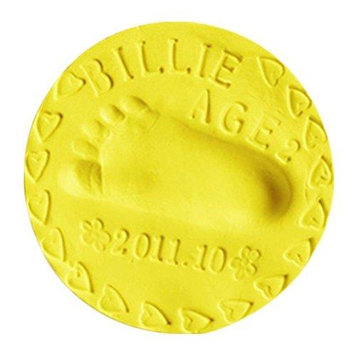 Toyvian Ultraleichte Plastilin Modelliermasse Kinder DIY Kunsthandwerk Spielzeug Baby Handabdruck Fußabdruck Casting Clay (Medium Yellow) (Handabdruck Kit Ornament Baby)