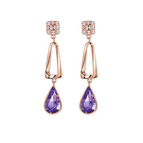 HSNZZPP Frauen-Tropfen-Ohrring-Ohrring-Art- Und Weiseelegante Braut-entzückende Kostüm-Schmucksache-Zircon-nachgemachte Diamant-Legierungs-Schmucksachen,Silver-OneSize
