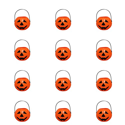 BESTOMZ 12 Stück Halloween Kürbis Eimer Süßigkeiten Halter Kerzenhalter Mini ()