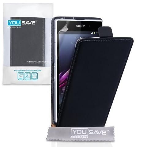 Coque Sony Xperia Z1 Etui Noir Réel Véritable Cuir Clapet Housse
