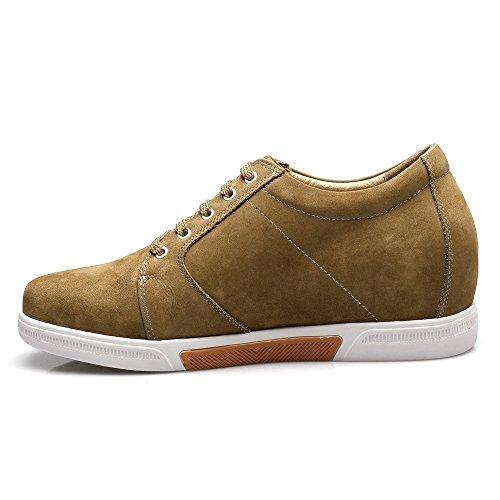 CHAMARIPA chaussures rehaussantes Sneakers en cuir suédé Hautes homme - Grandit de 7,5 cm-K70M83 (38) Jaune