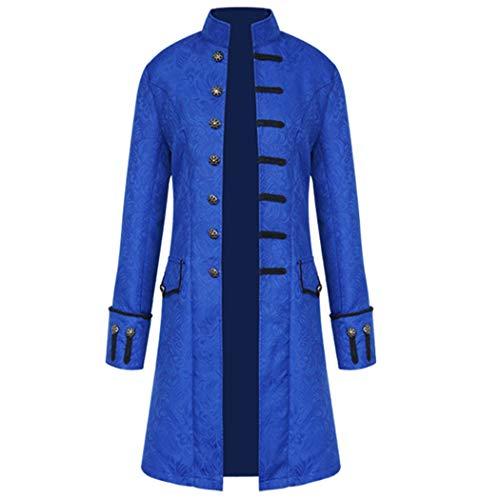Volon Herren Punk Retro Mäntel Steampunk Langarm Jacke Mittellang Mantel Mittelalter Kostüm Cosplay Uniform für Männer (XL, Blau)