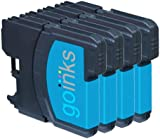 4 Cyan Compatible Brother LC980C / LC1100C Printer Ink Cartridges for Brother DCP-145C DCP-163C DCP-165C DCP-167C DCP-195C DCP-197C DCP-365CN DCP-373CW DCP-375CW DCP-377CW / MFC-250C MFC-255CW MFC-290C MFC-295CN MFC-297C MFC-490CN MFC-490CW MFC-5490CN MFC-5890CN MFC-6490CN MFC-670CD MFC-670CDW MFC-790CW MFC-930CDN MFC-930CDWN MFC-990CW