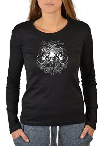 Musik- Langarm-Shirt/Longsleeve Damen Rock-Aufdruck: Rock-n-Roll - Gitarren-Design Schwarz
