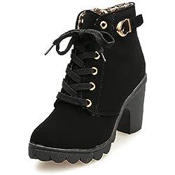 Botines De Altos Tacón Mujer,Piel con Plataforma Ante Forrados Cordones 8 Cm Zapatos Moda Otoño Invierno Comodos Negro 40